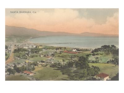 Early Overview of Santa Barbara, California--Art Print
