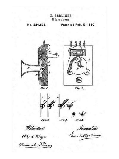 Early Recording Device: the Berliner Microphone Patent, 1880--Photo