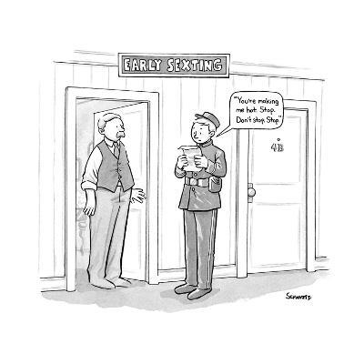 """""""Early Sexting"""" -- An old-style bellhop reads an erotic telegram to a hote? - New Yorker Cartoon--Premium Giclee Print"""