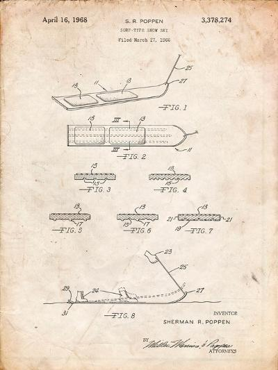 Early Snowboard Patent-Cole Borders-Art Print