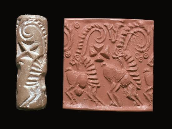 Early Sumerian cylinder-seal and impression-Unknown-Giclee Print
