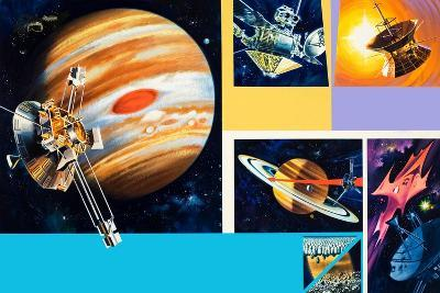 Early Unmanned Space Missions to the Outer Planets-Wilf Hardy-Giclee Print