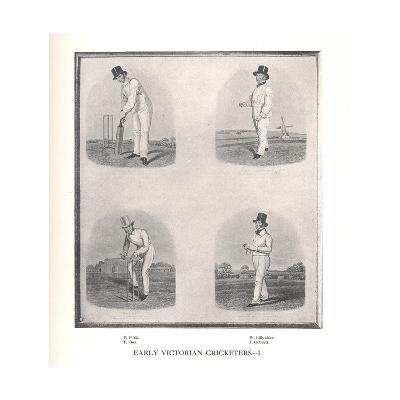 Early Victorian cricketers, 19th century (1912)--Giclee Print