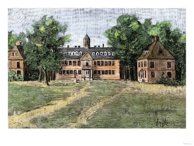 Early View of William and Mary College, Williamsburg, Virginia, 1700s--Giclee Print
