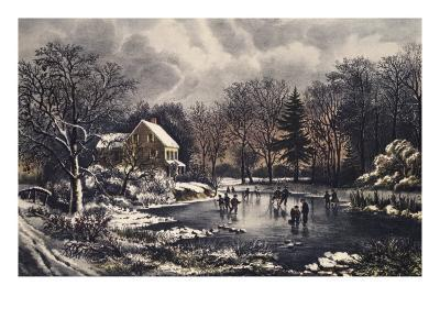 Early Winter-Currier & Ives-Giclee Print