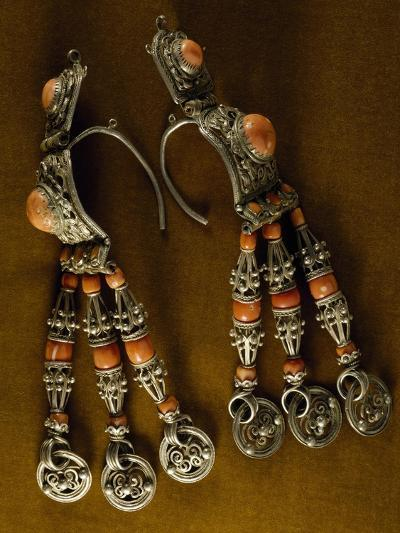 Earrings for Men in Silver-Gilt and Coral as Used by Semi-Nomadic Populations--Giclee Print