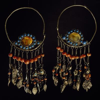 Earrings in Silver-Gilt, Turquoise, Coral and Moss Agate, Region of Khorezm, Uzbekistan--Giclee Print
