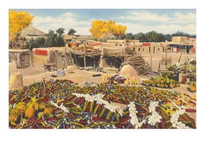 Ears of Corn Drying in Adobe Courtyard--Art Print