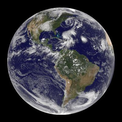Earth and Four Storm Systems-Stocktrek Images-Photographic Print
