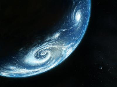 Earth And Moon, Artwork-Richard Bizley-Premium Photographic Print