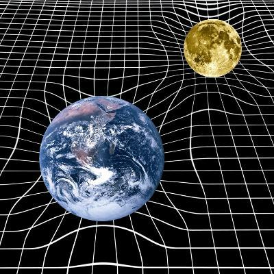 Earth And Moon Space-time Warp, Artwork-Victor De Schwanberg-Photographic Print