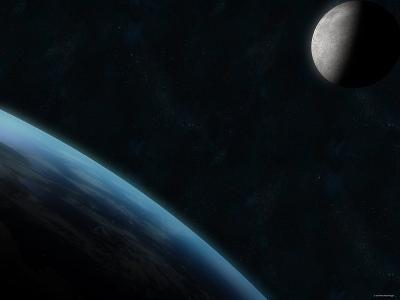 Earth and the Moon-Stocktrek Images-Photographic Print