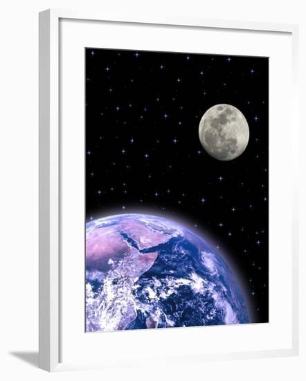 Earth and the Moon-David Davis-Framed Photographic Print