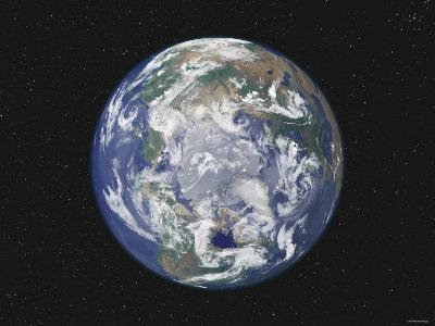 Earth Centered on the North Pole-Stocktrek Images-Photographic Print