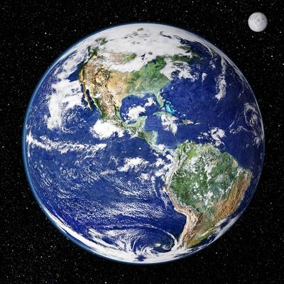 Picture of earth from space showing satellites