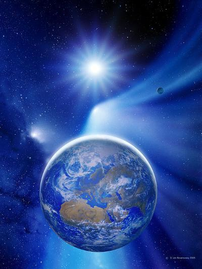 Earth In a Comet's Tail-Detlev Van Ravenswaay-Photographic Print