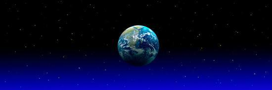 Earth in Space with Blue Mist (Photo Illustration)--Photographic Print