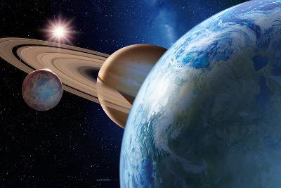 Earth-like Gas Giant Moon-Detlev Van Ravenswaay-Photographic Print