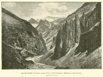 Earth Pillars, Near Kioto, Spiti Valley, Himalaya Mountains--Giclee Print
