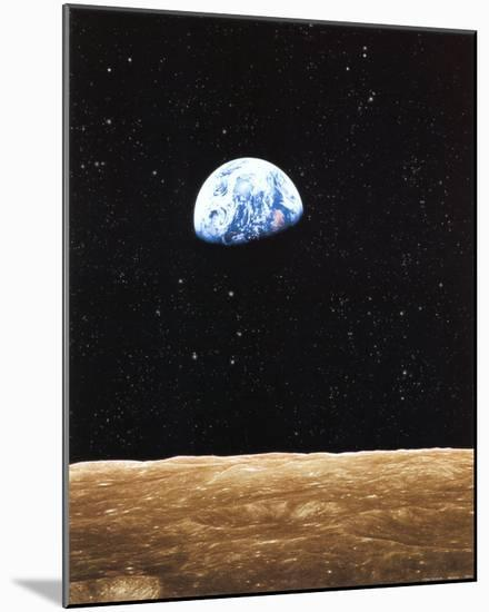 Earth Rise from Moon--Mounted Art Print