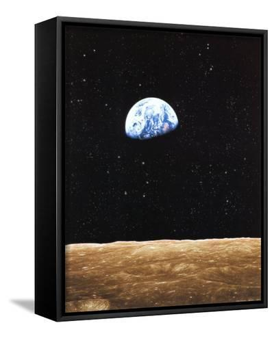 Earth Rise from Moon--Framed Canvas Print