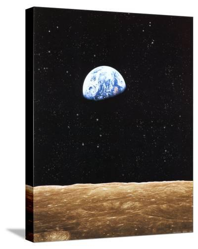 Earth Rise from Moon--Stretched Canvas Print