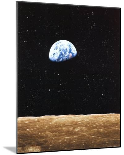 Earth Rise from Moon--Mounted Print