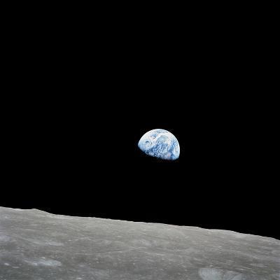 Earth Rising Above the Lunar Horizon-Stocktrek Images-Photographic Print