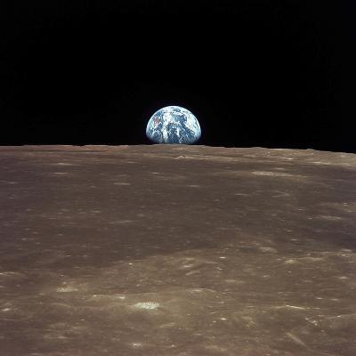 Earth Rising Above the Moon's Horizon-Stocktrek Images-Photographic Print