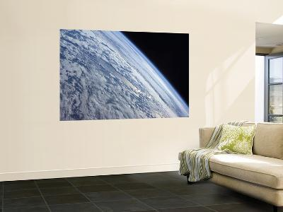 Earth's Horizon Against the Blackness of Space--Wall Mural