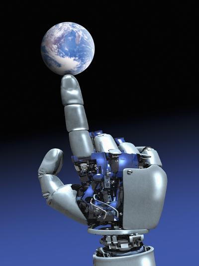 Earth Spinning on Robotic Finger, Artwork-Victor Habbick-Photographic Print