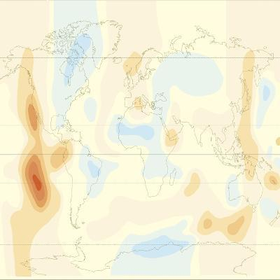 Earth Surface Heat Flow Map--Giclee Print