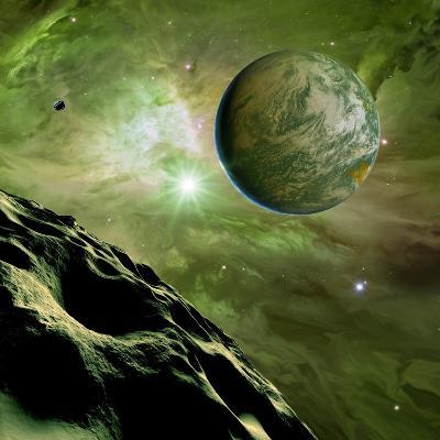 Earthlike Planet In Orion Nebula, Artwork-Detlev Van Ravenswaay-Photographic Print