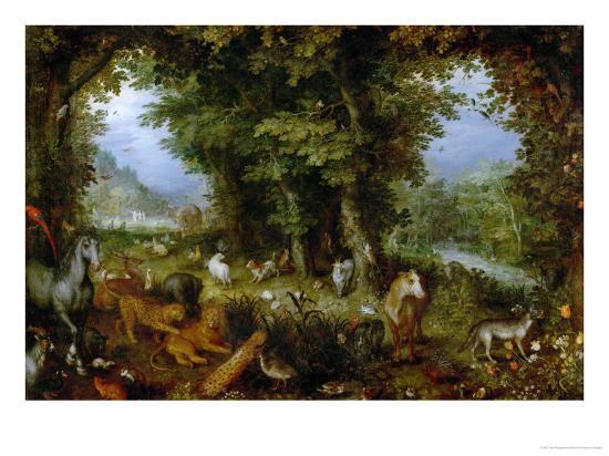 Earthly Paradise, 1607-1608-Jan Brueghel the Elder-Giclee Print