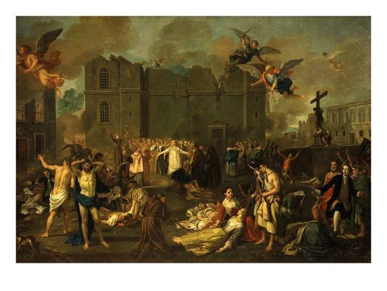 Earthquake in Lisbon, Portugal, 1755-Jao A. Stroberle-Giclee Print