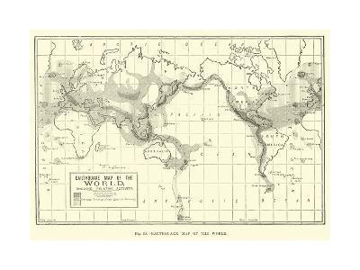 Earthquake Map of the World--Giclee Print