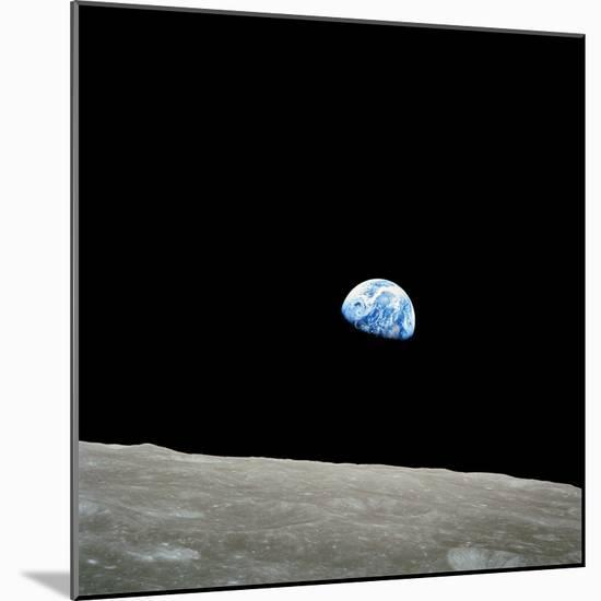 Earthrise Over Moon, Apollo 8--Mounted Premium Photographic Print