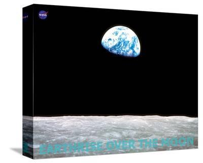 Earthrise over the Moon--Stretched Canvas Print