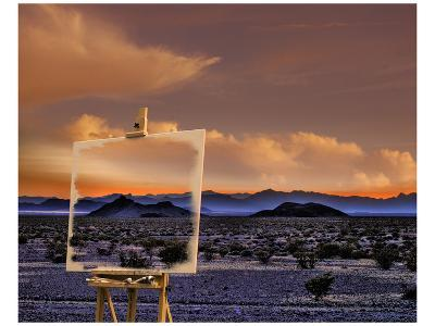 Easel in Nevada Sunset-Richard Desmarais-Art Print