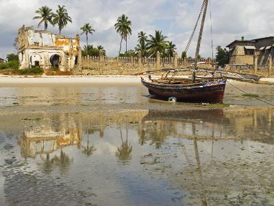 East Africa, Tanzania, Zanzibar, A Boat Moored on the Sands of Bagamoyo-Paul Harris-Photographic Print