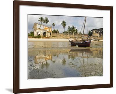 East Africa, Tanzania, Zanzibar, A Boat Moored on the Sands of Bagamoyo-Paul Harris-Framed Photographic Print