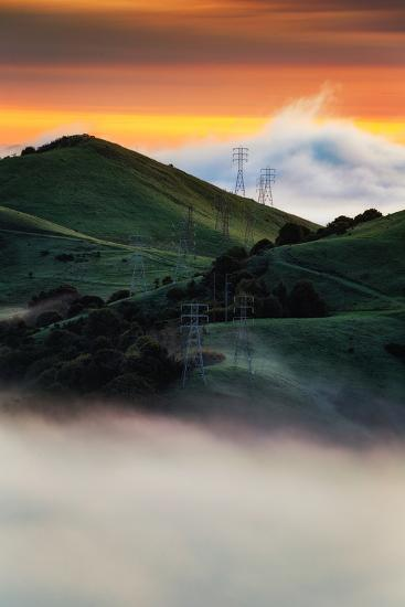 East Bay Hills and Moody Fog, Bay Area Oakland California-Vincent James-Photographic Print