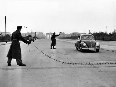 East Berlin Customs Police Stopping a Volkswagen on Charlettenburger Chaussee, Oct 26, 1952--Photo