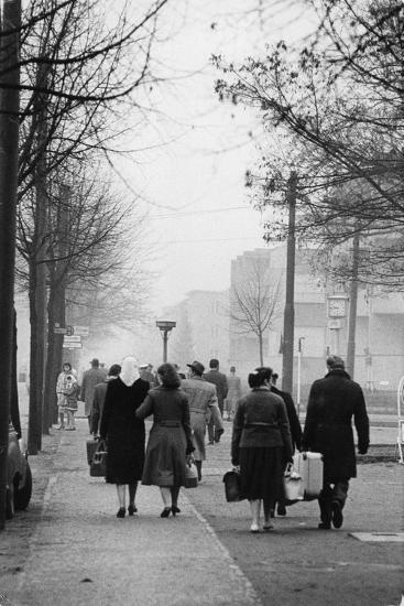 East-Berliners could cross into the West with a permit. Berlin-West,1958.-Erich Lessing-Photographic Print