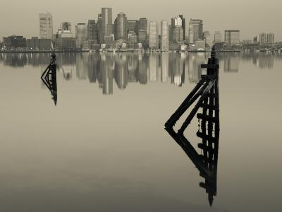 East Boston, Financial District from Logan Airport, Boston, Massachusetts, USA-Walter Bibikow-Photographic Print