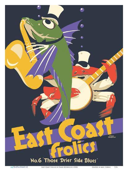 East Coast Frolics - London and North Eastern Railway - Fish Saxophone Crab Banjo-Frank Newbould-Art Print