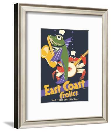 East Coast Frolics - London and North Eastern Railway - Fish Saxophone Crab Banjo-Frank Newbould-Framed Art Print