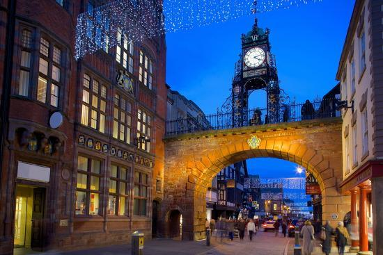 East Gate Clock at Christmas, Chester, Cheshire, England, United Kingdom, Europe-Frank Fell-Photographic Print