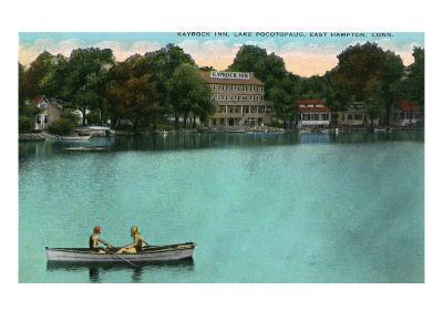 East Hampton, Connecticut, Lake Pocotopaug View of Kayrock Inn-Lantern Press-Art Print