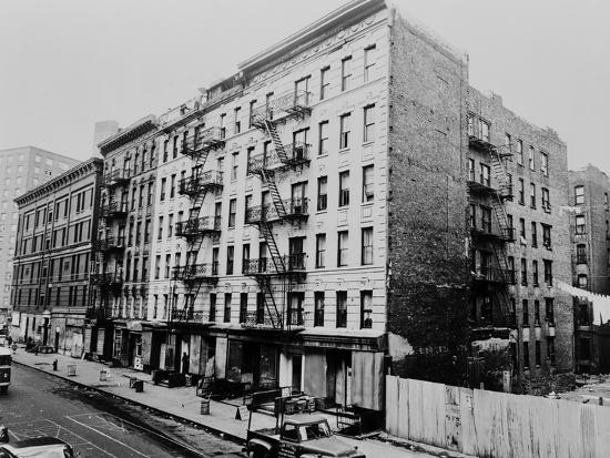East Harlem S 100th St With A Large Tenement Apartment Building In Nyc 1964
